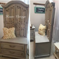Armoire repurpose using the doors and lower drawers Refurbished Furniture, Repurposed Furniture, Bedroom Furniture, Painted Furniture, Diy Furniture, Refurbished Cabinets, Armoire Redo, Armoire Makeover, Furniture Makeover