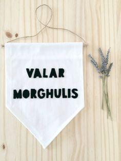 VALAR MORGHULIS - Wall Banner (customizable!). Game of Thrones Wall Banner.