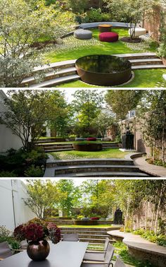 13 Multi-Level Backyards To Get You Inspired For A Summer Backyard Makeover // This backyard has multiple levels for entertaining and relaxing, with a water feature as a focal point.