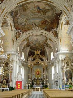 Rococco style church at Innsbruck, Austria.  One of the prettiest cathedrals I have ever seen....had never seen this much white used....so uplifting.