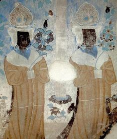 Wall painting fromDunhuang Mogao Caves, Five Dynasties period in China (907 - 979 A.D)
