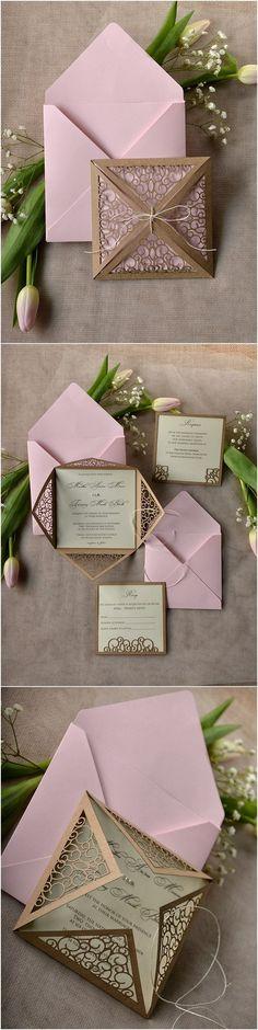 Rustic brown and pink laser cut wedding invitations @4LOVEPolkaDots