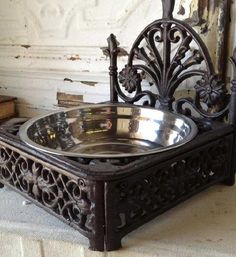 Ornate Wrought Iron Dog Buffet $35 - water bowl for boys in the house