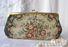 Vintage Needlepoint Clutch Tapestry Purse Satin Lining Made in