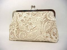 Champagne Lace Bridal Clutch, Satin Bridal Purse, Lace Bridesmaid Clutch Eight inch Frame,