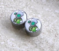 "Gir from Invader Zim Plugs - One PAIR Sizes 2g, 0g, 00g, 7/16"", 1/2"", 9/16"", 5/8"", 3/4"", 7/8"", & 1"" $18"