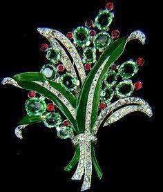 Trifari Aquamarine & Ruby Floral Fur Clip Brooch