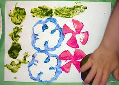 Vegetable Prints using tempera poster paint      LEVEL: Pre-school and Primary.  Use vegetables to create exciting prints on paper. Make fun random prints or combine them to create interesting images. Lots of fun…