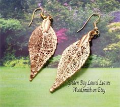 Real Leaves Jewelry Gold Dipped BAY LAUREL Leaf by WoodSmith