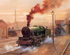 Locomotive from Alan Fearnley Train Posters, Train Art, Train Engines, Colorful Artwork, Steam Locomotive, Retro, Vintage Posters, Classic Cars, Art Gallery