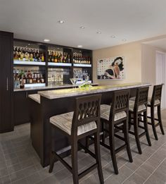 Contemporary wood bar for entertaining.