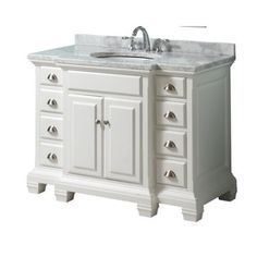 Style Selections Vanover 45-in x 23-1/4-in White Single Sink Bathroom Vanity with Natural Marble Top