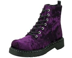 7bdb4d013e6 Buy Purple Crushed Velvet Combat boots - Tragic Beautiful buy online from  Australia