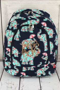 Prissy Pachyderm Full Size Backpack in Navy or Pink/ Backpack for Teens/ Backpacks for College/ Backpacks for School/ Personalized Backpacks Monogram Backpack, Canvas Backpack, Trendy Backpacks, School Backpacks, Backpack For Teens, Vera Bradley Backpack, School Bags, Trending Outfits, Handmade Gifts
