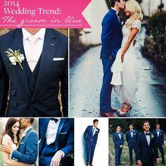 2014 wedding trends, wedding ideas, wedding colors, fashion, groom, navy blue, man suit, blue suit, blue tuxedo, groom style, men's wedding suit