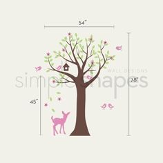 Tree with Birds and Fawn Decal Set Kid's Nursery by SimpleShapes