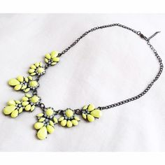 Neon yellow statement necklace Great piece to add to your jewelry collection. Measures 18 inches with 3 inch extender chain. Also available in neon pink. Sorry  No trades but all reasonable offers are welcome :) Boutique Jewelry Necklaces