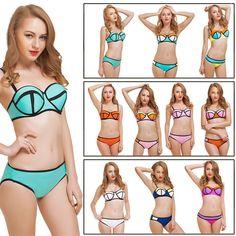 ca4f57925af05 Sexy Women s Bandeau Push up Neoprene Diving Suit Bikini Set Swimsuit  Swimwear