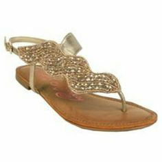 Naughty Monkey Ascot Sandals Champagne color, beaded. EUC, worn once for wedding. naughty monkey Shoes Sandals