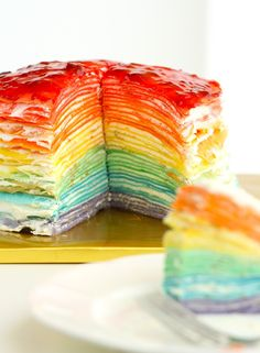 30-Layer Rainbow Mille Crepe Cake - Eugenie Kitchen