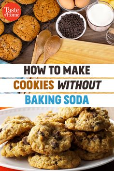 It's surprisingly easy to learn how to make cookies without baking soda. It only takes one simple ingredient substitution! Banana Recipes Without Baking Soda, Sugar Cookies Recipe Without Baking Soda, Baking Soda Substitute, Banana Cookie Recipe, Easy Sugar Cookies, Oatmeal Cookie Recipes, Oatmeal Chocolate Chip Cookies, Chocolate Chip Cookies Recipe Without Baking Soda, Baking Cookies
