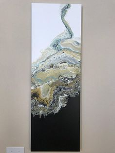 Acrylic pour Abstract painting black white and gold modern art