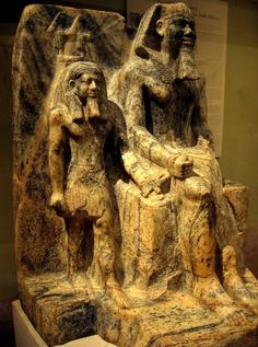 KING SAHURE AND A NOME GOD.......OLD KINGDOM 5TH DYNASTY REIGN OF SAHURE ca 2.458  - 2.446 BC.......EGYPTIAN GNEISS