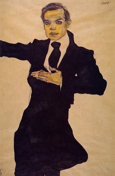 urgetocreate:  Egon Schiele - Portrait of the Painter Max Oppenheimer, 1910