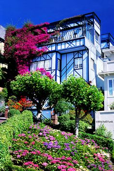 House On Lombard Street With Flowers,  San Francisco By Mitchell Funk   www.mitchellfunk.com