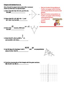 This is a review activity I created involving segments in triangles, particularly perpendicular bisectors, medians and altitudes. I use Burger Geometry book by Hold-McDougal. Note: I've created this using their problems on the editable Practice B worksheets, and placed them into a Kagan Rally Coach format, so by purchasing this item, you are paying me for my time in placing these problems in a format that is appropriate for cooperative learning of sections 5.1 - 5.3.