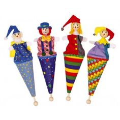 Marottes en bois Clown (assortiment de 4)