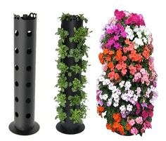 Disney World displays plants like this.  Lowes sells the 4 to 6″ round PVC pipe with holes already drilled. Purchase an end cap, fill with rock, soil, and plant. I will often put these in the center of a very large pot to stabilize, and add amazing height and color to a container that has trailing plants - no end cap or rock needed if you are place the display in a container.  (This pin has been cut and pasted. The original pin of this tracked back to a Malicious site that my computer…