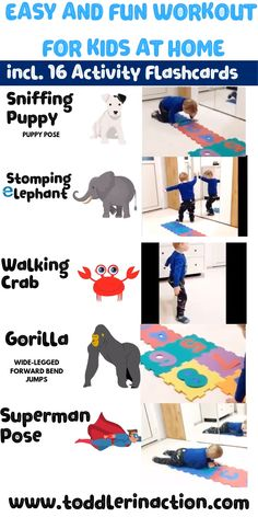 Looking for easy and fun indoor toddler activities with your toddler? Check out this easy and fun workout for kids at home. 16 Activity Flashcards free printables for kids Physical Activities For Kids, Indoor Activities For Toddlers, Activities For 2 Year Olds, Gross Motor Activities, Toddler Learning Activities, Infant Activities, Preschool Activities, Kids Learning, Summer Activities
