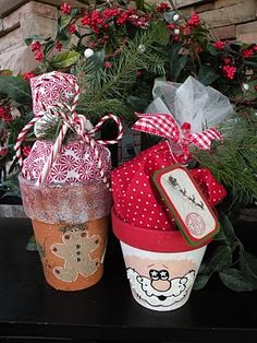 Seasons Of Joy: Creative Gift Wrap...Terra Cotta Christmas Treat Pots