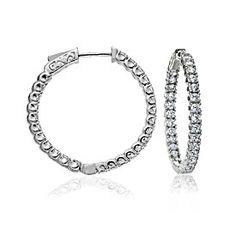 Inside Outside Diamond Hoop Earrings In 14K White Gold