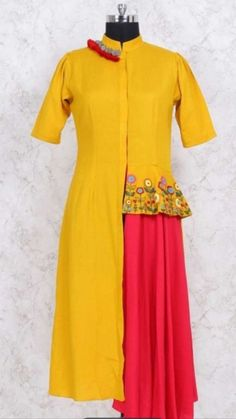 Beautiful Silk cotton kurti with embroidered peplum. Pakistani Dress Design, Pakistani Dresses, Indian Dresses, Heavy Dresses, Kurta Style, Lehenga Gown, Kurti Patterns, Kurta Designs, Western Dresses