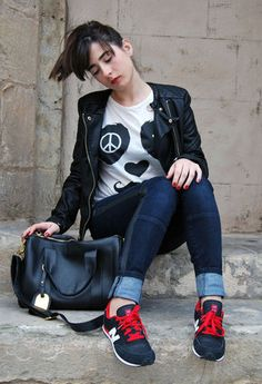 leather jacket and new balance sneakers. #style #inspiration #zappos