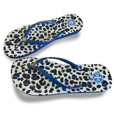 b0bd0c44cfe0fa New- Tory Burch flat flip flops Blue Leopard Design Women beach sandals  slippers
