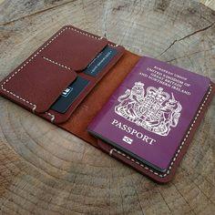 """A nice grained veg tan travel wallet heading to Dubai. #handmade #handsewn…"