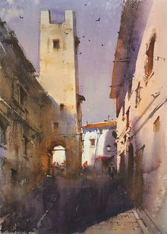 Watercolor Landscape Paintings, Watercolor And Ink, Watercolors, Indian, Inspiration, Painting Abstract, Abstract, Urban, Watercolor Painting