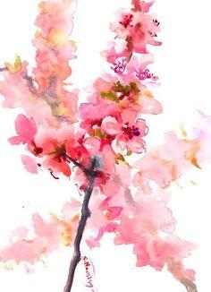 Cherry Blossom Artwork Sakura Blossom, original pink floral watercolor art soft pink wall art, pink/afflink Watercolor Paper, Watercolor Flowers, Watercolor Paintings, Mouille, Flower Art, Art Flowers, Pink Wall Art, Water Art, Watercolour Tutorials