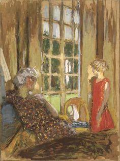 Edouard Vuillard (Cuiseaux, 1868 - La Baule, 1940) Madame Hessel et Lulu à la porte-fenêtre, vers 1932