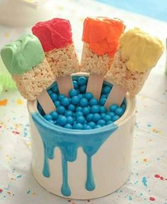 A fun idea for birthday parties or afternoon tea. Buy or make some rice bubble bars, insert ice cream sticks then dip in chocolate melts. Melts available from Build A Birthday: https://secure.zeald.com/under5s/results.html?q=buildabirthday