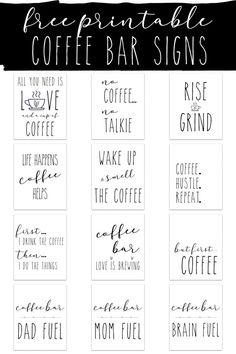 Coffee Nook, Coffee Bar Home, Coffee Bar Signs, Coffee Corner, Coffe Bar, Freebies, Diy Signs, Wood Signs, Coffee Quotes
