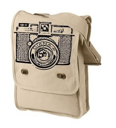 Diana Camera Canvas Messenger Bag: This great tote is dedicated to the plastic, low quality camera which gives uniquely flawed and funky photos.