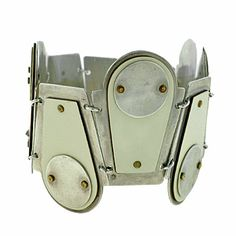 Bracelet | Designer ?.  Sterling silver, ivory coloured laminated wood.  ca. 1950s, Modernist.
