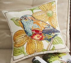 Anna Marie Embroidered Bird Indoor/Outdoor Pillow | Pottery Barn For the screened in porch!!!
