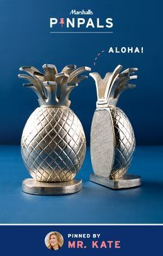 """Say """"aloha"""" to our latest tropical gem: metallic pineapple bookends. They shine, they shimmer, and they keep books organized on any desk or shelf. Home décor extraordinaire, Mr. Kate, was so inspired by these beauties that she surprised her Pin Pal with them.  Inspired by this pin? Save it and you could be surprised by a Pin Pals box tailored to your style! Now that's a true #MarshallsSurprise. #Contest rules: http://marshallspinpals.dja.com/"""