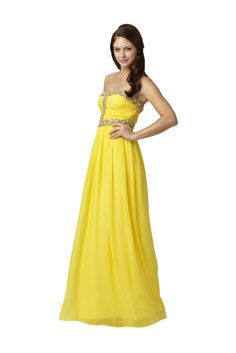 Strapless Floral Neckline Gown - Elegant strapless gown by Aidan Mattox has a ruched bodice with floral detailing at the neckline, waist, and bust. The flowing skirt flares out to floor length.