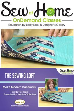 Learn how to make these modern placements with The Sewing Loft in this FREE video class on Sew at Home.